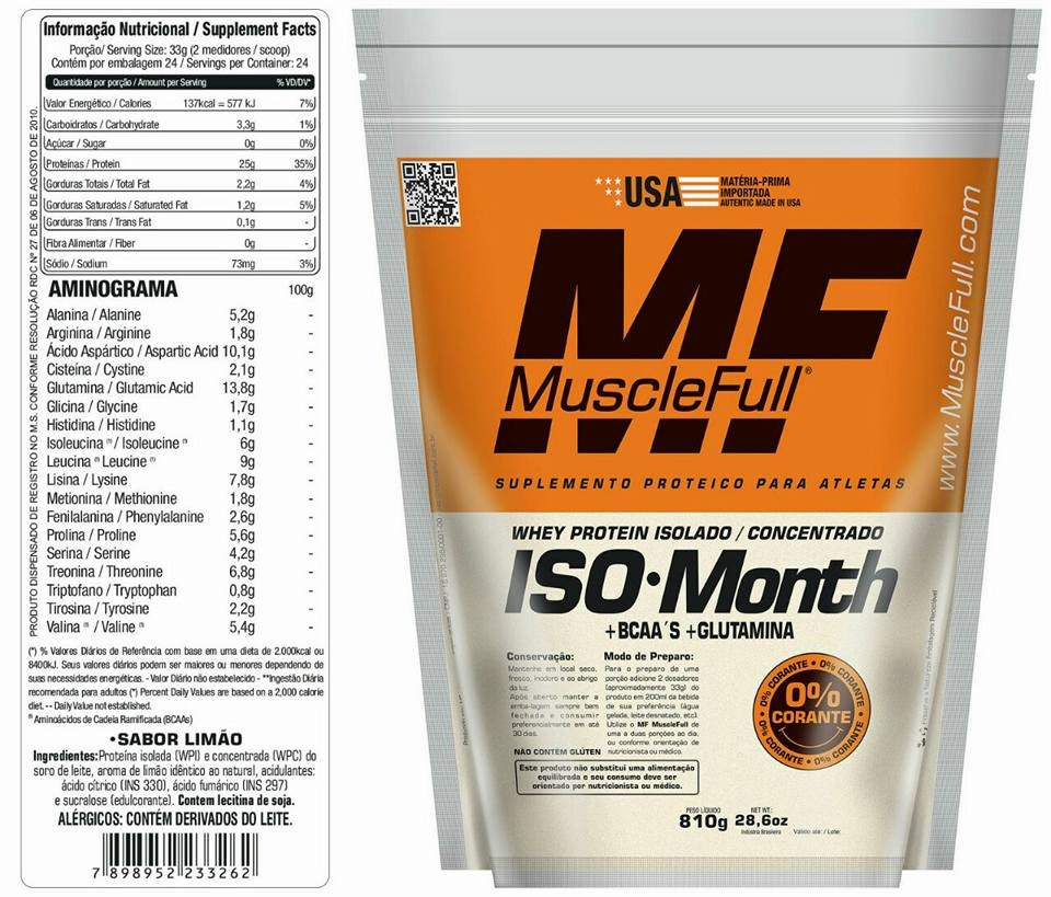 Iso Month Whey Protein - 810g - Refil - Muscle Full