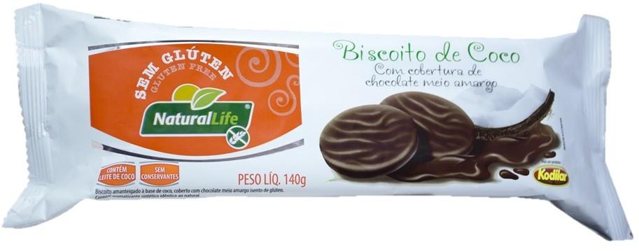Biscoito de Coco - Sem Glúten - Cobertura de Chocolate Meio Amargo - 140g - Natural Life
