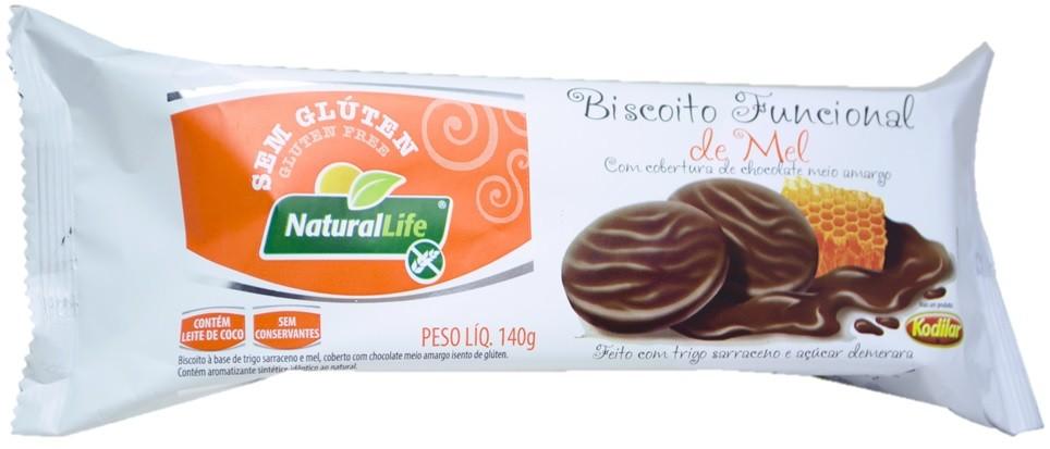 Biscoito Funcional de Mel - Sem Glúten - Cobertura de Chocolate Meio Amargo - 140g - Natural Life