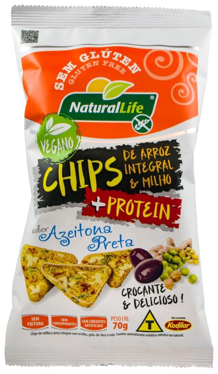 Chips de Arroz Integral e Milho Sabor Azeitona Preta - Sem Glúten - 70g - Natural Life