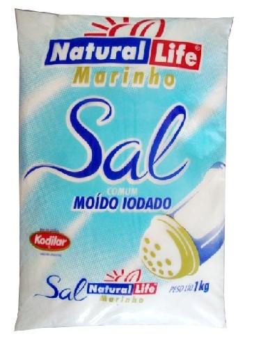 Sal Marinho Comum Moído Iodado (1000g) Natural Life